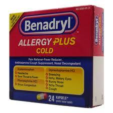 Benadryl Allergy Cold (Apap/Diphenhydramine/Pseudoephedrine)